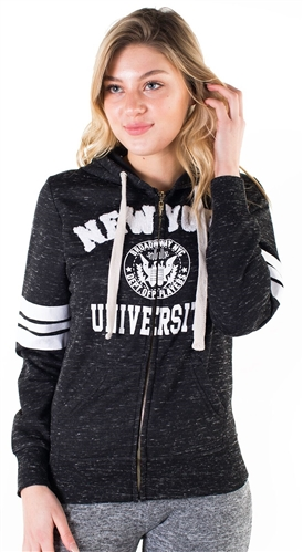 "Women's Space Dye, Zip Up Hoodie with ""New York University"" Print"