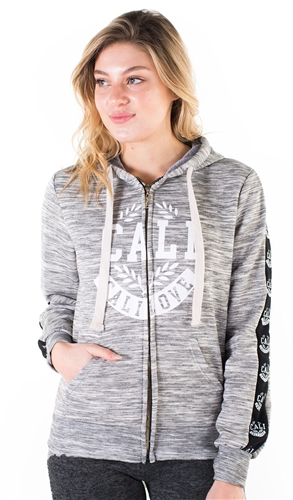 "Women's Space Dye, Zip Up Hoodie with ""Cali Love"" Print and Side Tape Details/"
