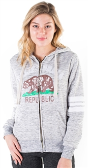 "Women's Space Dye, Zip Up Hoodie with ""California Republic"" Print"