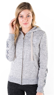 "Women's Space Dye, Lace Up Sleeves, Zip Up Hoodie with ""Love"" Embroidery and Print on Hood"