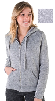 Women's Melange, Faux Sherpa Lined Zip Up Hoodie