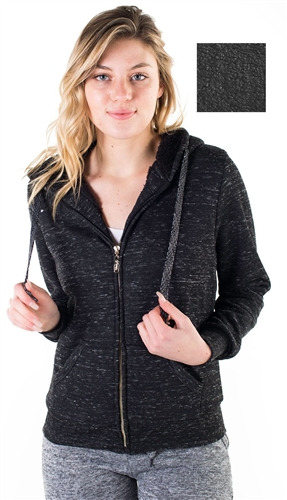 Women's Space Dye, Faux Sherpa Lined Zip Up Hoodie