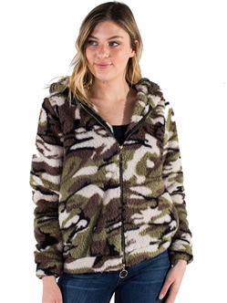 Women's Plush Fuzzy Camo Zip Up Hoodie by Special One/
