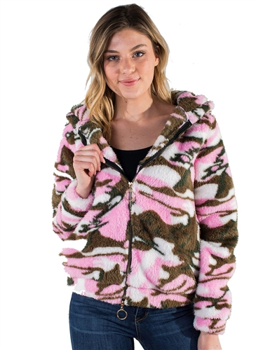 Women's Plush Fuzzy Camo Zip Up Hoodie by Special One