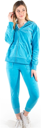 Women's Velour Jacket and Jogger Set with Split Kangaroo Pockets