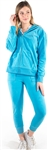Women's Velour Set with Ruffle Shoulder Sleeve