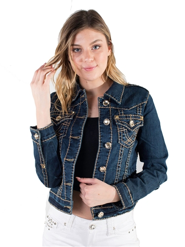 Women's LA Idol Denim Jacket with Thick Threading and Embellishments