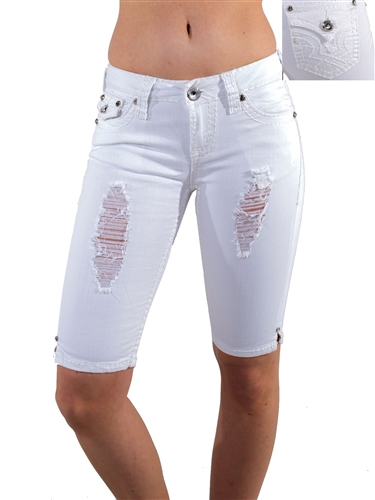 Women's LA Idol Tattered Bermuda Shorts with Thick Threading and Embellishments