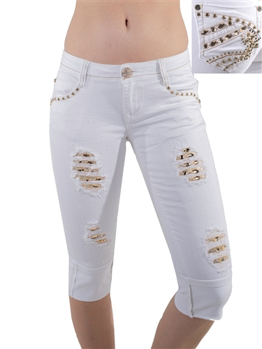 Women's LA Idol Capri Pants with Thick Threading and Embellishments