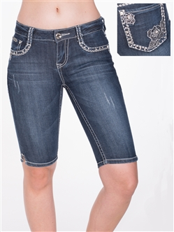 Women's LA Idol Bermuda Shorts with Thick Threading and Embellishments