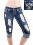 Women's LA Idol Capri Pants with Thick Threading and Embellishments/