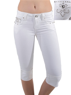 Women's LA Idol Capri Pants with Thick Threading and Embellishments/1-1-2-3-3-1-1-1