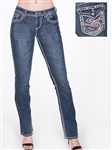 Women's LA Idol White Boot Cut Jeans with Thick Threading and Embellishments