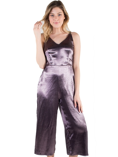 Women's Eyeshadow Metallic Culotte Jumpsuit with Round Buckle Strap