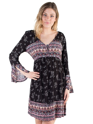 Women's Eyeshadow Sun Dress with Split Bell Sleeve