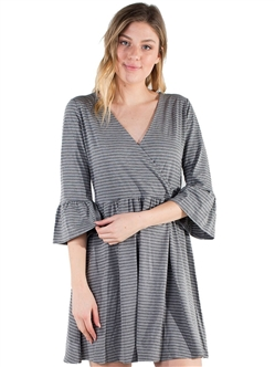 Women's Eyeshadow Flounce 3/4 Sleeves Casual Dress