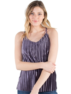 Women's Eyeshadow Pleated Velvet Racerback Tank Top