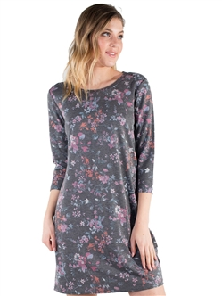 Women's Eyeshadow Floral T Shirt Dress with 3/4 Sleeves