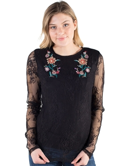 Women's Daytrip by Eyeshadow Lace Mesh With Floral Embroidery Layer Top