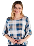Women's Eyeshadow Plaid Flounce Hem Crop Top
