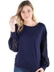 Women's Eyeshadow Lace Long Sleeved Top