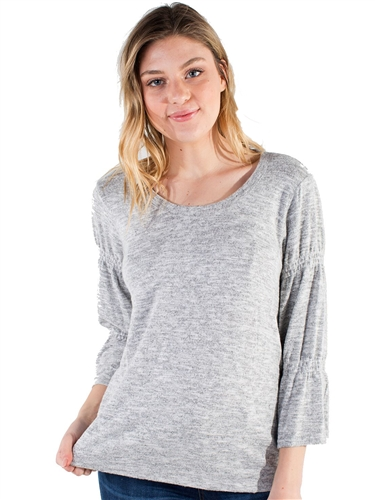 Women's Eyeshadow Sweater with Elasticized Balloon Sleeve Design