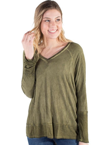 Women's Eyeshadow Ribbed V-Neck Sweater Top