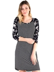 Women's Eyeshadow Floral and Striped T-Shirt Dress with 3/4 Sleeves