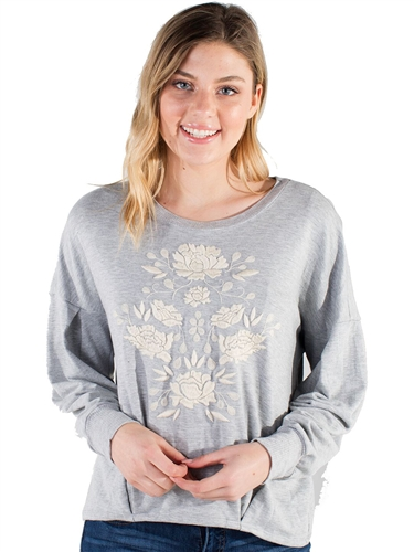 Women's Eyeshadow Sweater with Embroidered Front Design