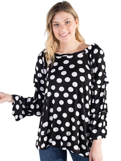 Women's Eyeshadow Casual Polka Dot Top with Ruffled Sleeve