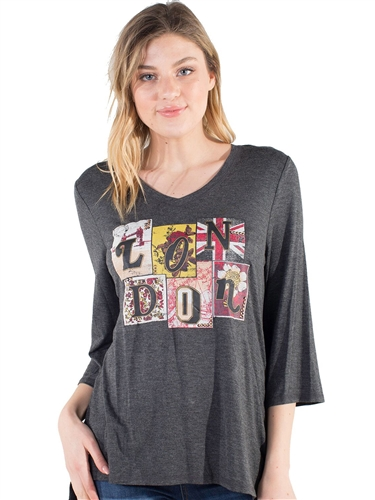 "Women's Eyeshadow V Neck ""London"" Tee with Dolman Sleeves"