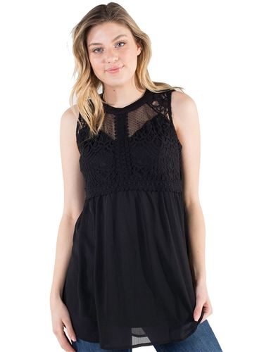 Women's Eyeshadow High Neck Lined Sheer Mesh and Lace Sleeveless Top /