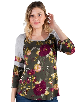 Women's Eyeshadow Floral Printed Baseball Tee with Shirttail/