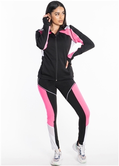 Women's Active Set Jacket and Leggings with Mesh Accent and Color Blocking
