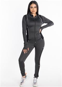 Women's Active Set Jacket and Leggings with Mesh and Contrast Accent Effect
