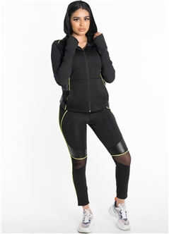 Women's Active Set Jacket with Hood and Leggings with Mesh and Liquid Finish Contrast Effect
