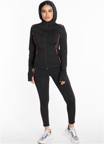 Women's Active Set Jacket with Hood and Leggings with Mesh and Accent Contrast Effect