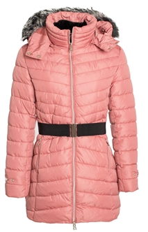 Women's Belted Mid Length Puffer Jacket with Detachable Faux Fur Hood