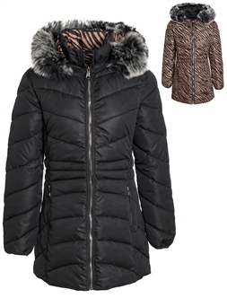 Women's Reversible Animal Print Mid Length Puffer Jacket with Detachable Faux Fur Hood
