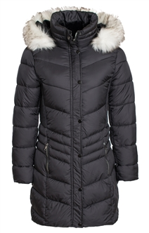 Women's Mid Length Puffer Jacket with Snap Button Closure, Detachable Faux Fur Hood