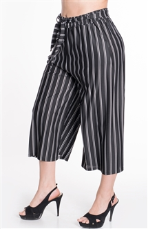 Women's Striped Pants with Removable Self Tie Sash