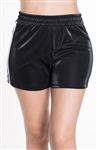 4225N-SP202-Black-Women's Side Stripe Shorts with with Stitch Detail Across Front Elasticized Waist /1-2-2-1