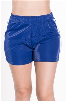4225N-SP202-Blue-Women's Side Stripe Shorts with with Stitch Detail Across Front Elasticized Waist /1-2-2-1