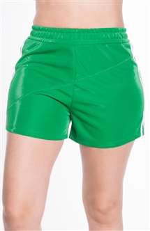 4225N-SP202-Green-Women's Side Stripe Shorts with with Stitch Detail Across Front Elasticized Waist /1-2-2-1