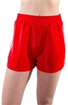 4225N-SP202-Red-Women's Side Stripe Shorts with with Stitch Detail Across Front Elasticized Waist /1-2-2-1