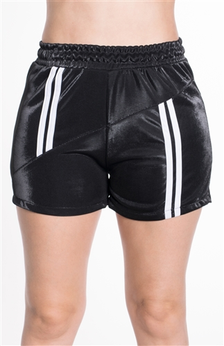 4225N-SP203-Black-Women's Shorts with Asymmetrical Stripes Elasticized Waist/1-2-2-1