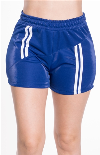 4225N-SP203-Blue-Women's Shorts with Asymmetrical Stripes Elasticized Waist/1-2-2-1