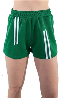 4225N-SP203-Green-Women's Shorts with Asymmetrical Stripes Elasticized Waist/1-2-2-1