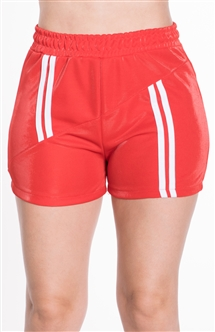 4225N-SP203-Red-Women's Shorts with Asymmetrical Stripes Elasticized Waist/1-2-2-1