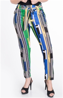 Women's Striped  Trouser Pants with Removable Self Tie Sash